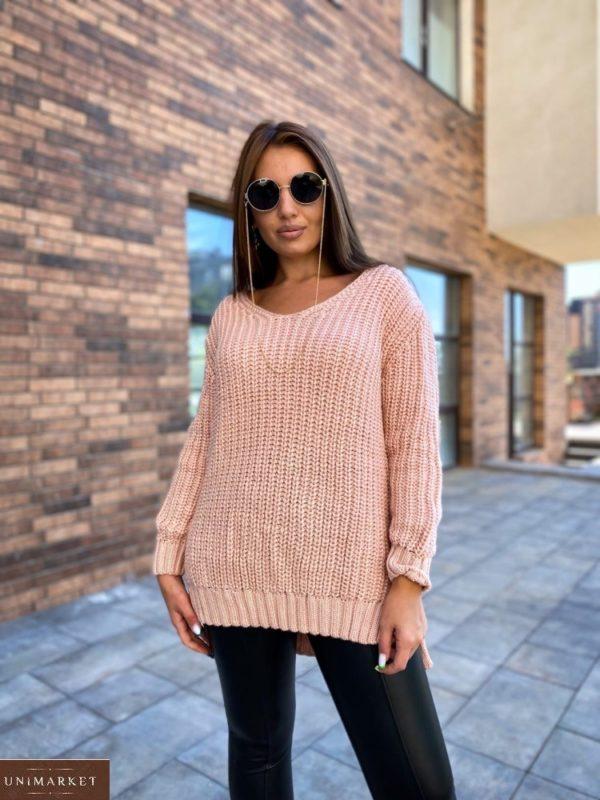 Заказать дешево женский удлиненный вязаный свитер (размер 50-56) персикового цвета