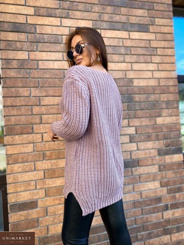 Приобрести недорого пудра женский удлиненный вязаный свитер (размер 50-56)
