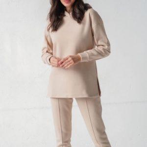 Купити беж жіночий костюм з капюшоном з начосом (розмір 42-58) онлайн