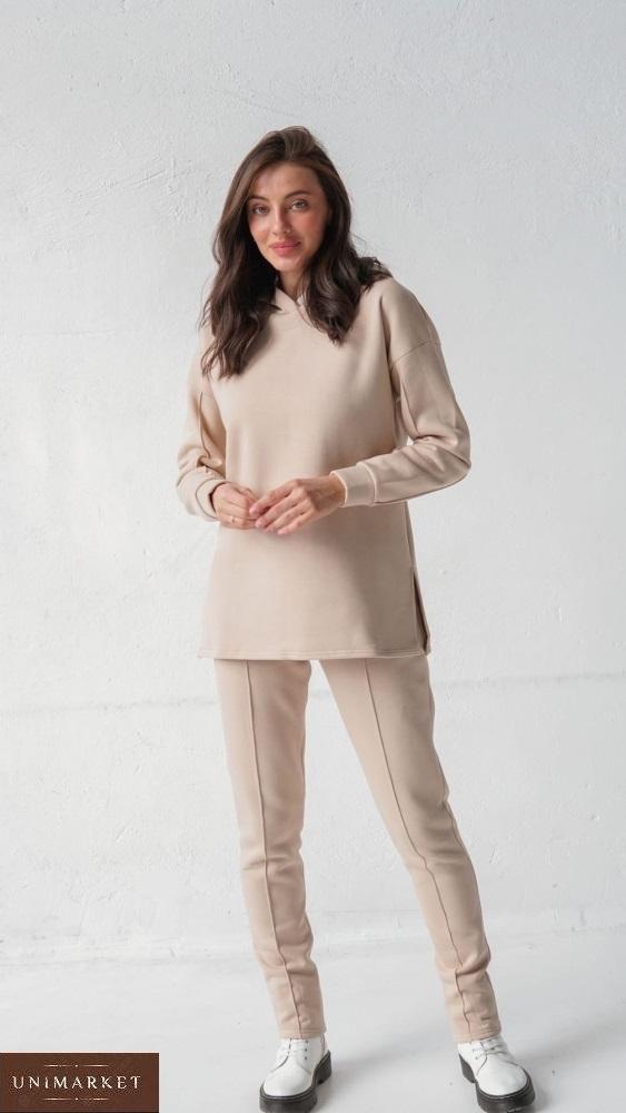 Купить беж женский костюм с капюшоном с начесом (размер 42-58) онлайн
