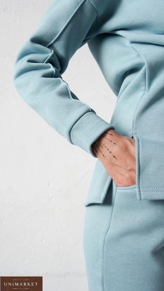 Заказать недорого голубой костюм с капюшоном с начесом (размер 42-58) для женщин