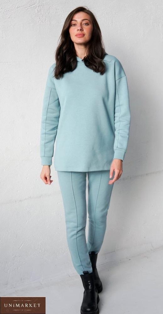 Купить голубой женский костюм с капюшоном с начесом (размер 42-58) дешево