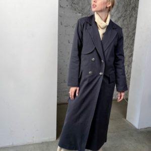 Купить черный женский непромокаемый тренч оверсайз (размер 42-58) по скидке
