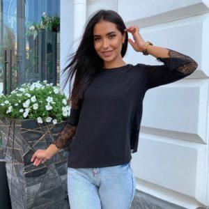 Купить онлайн женскую теплую кофту с нежными рукавами (размер 42-56) черного цвета