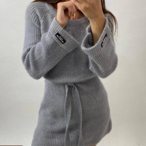 Купить по скидке серую тунику машинной вязки с поясом (размер 42-48) для женщин