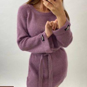 Приобрести сирень женскую тунику машинной вязки с поясом (размер 42-48) по скидке
