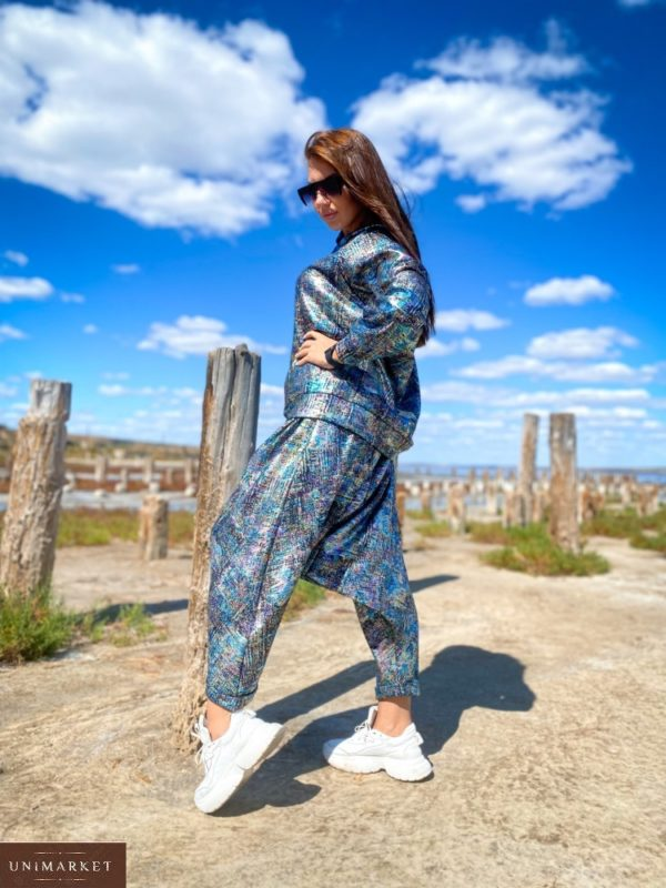 Приобрести женские штаны йога оверсайз (размер 46-52) синие онлайн