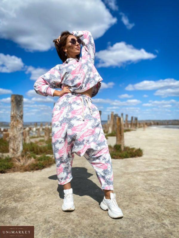Заказать розовые женские штаны йога оверсайз (размер 46-52) онлайн