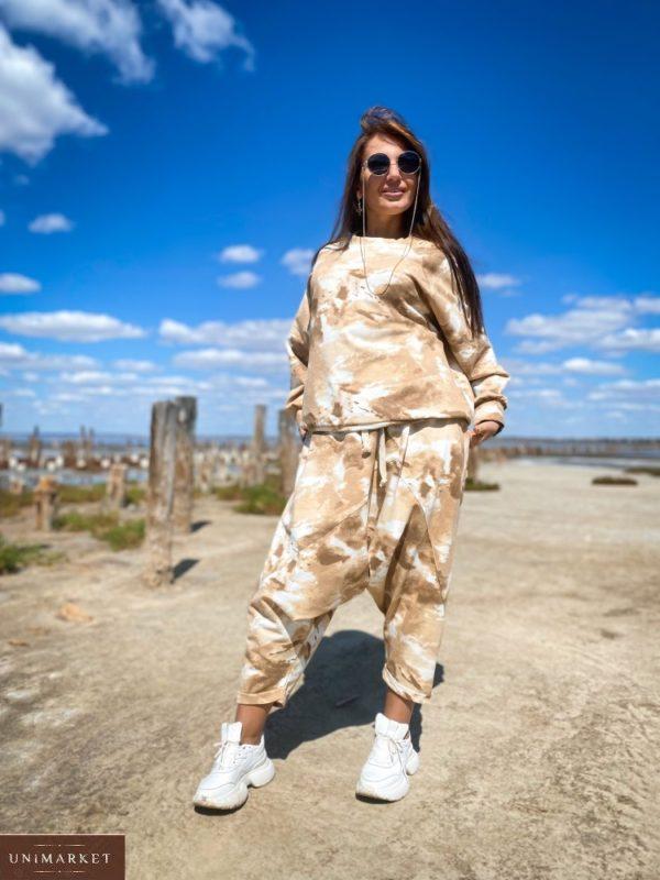 Купить бежевые штаны йога оверсайз (размер 46-52) для женщин по скидке