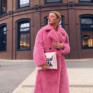 Замовити рожеву жіночу шубу зі штучного хутра на синтепоні в Україні