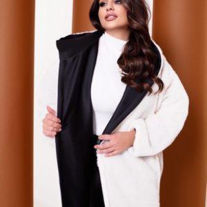 Купить белую шубу двусторонняя с капюшоном (размер 42-58) по скидке женскую