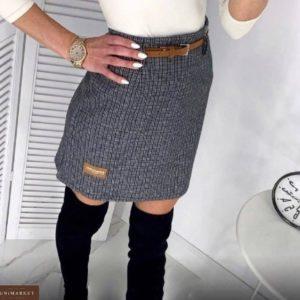 Купить по скидке серую юбку из твида с нашивкой и поясом для женщин