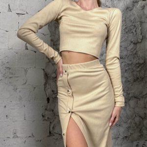 Купить беж женскую трикотажную юбку с разрезом (размер 42-56) онлайн