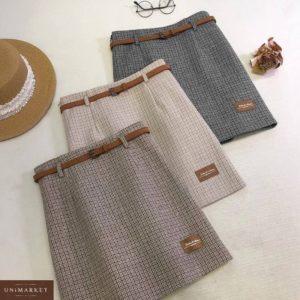 Заказать недорого беж, коричневую, серую юбку из твида с нашивкой и поясом для женщин
