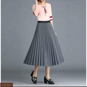 Заказать серую женскую тёплую юбку плиссе на осень
