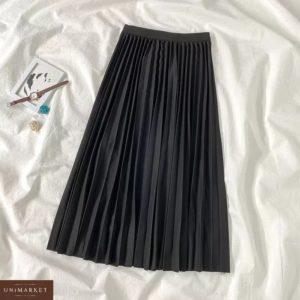 Приобрести черную женскую тёплую юбку плиссе в интернете