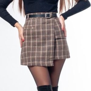 Купить в интернете коричневую юбку с нахлёстом в клетку для женщин