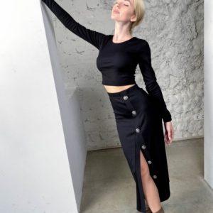 Купить черную женскую трикотажную юбку с разрезом (размер 42-56) дешево