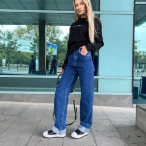 Замовити недорого сині джинси з підворіть для жінок