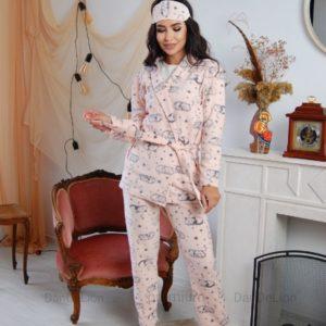 Купить по скидке женский спальный комплект тройка с повязкой (размер 42-50) персикового цвета