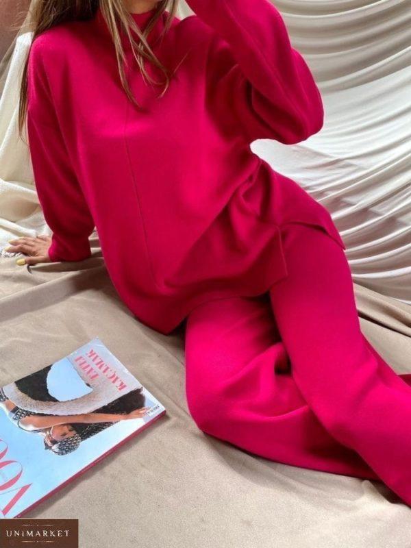 Заказать малиновый женский тёплый костюм из ангоры со свитером по скидке