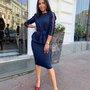 Заказать синий женский костюм с юбкой и напылением (размер 42-52) онлайн