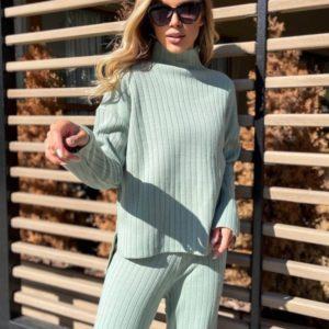 Купить мятный, бежевый свободный вязаный костюм онлайн для женщин