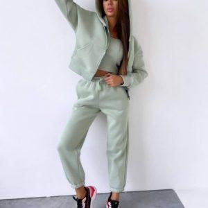 Замовити оливковий жіночий теплий костюм трійка (розмір 42-48) по знижці
