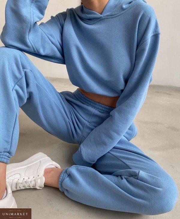 Заказать голубой женский однотонный спортивный костюм с капюшоном по скидке