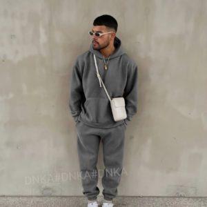 Купить по скидке серый вельветовый спортивный костюм (размер 48-58) мужской
