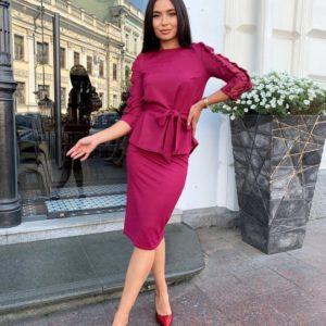 Купить дешево женский костюм с юбкой и напылением (размер 42-52) фуксия