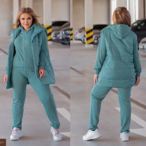 Замовити бірюзовий костюм з жилеткою (розмір 44-54) жіночий онлайн