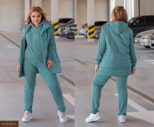 Заказать бирюзовый костюм с жилеткой (размер 44-54) женский онлайн