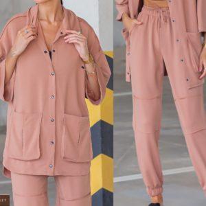 Замовити пудра жіночий трикотажний костюм з сорочкою (розмір 42-54) в Україні