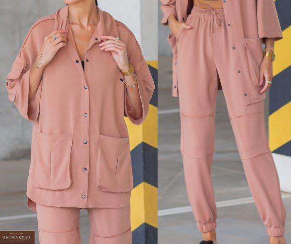 Заказать пудра женский трикотажный костюм с рубашкой (размер 42-54) в Украине
