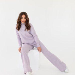 Заказать по скидке лиловый костюм из ангоры с брюками палаццо для женщин