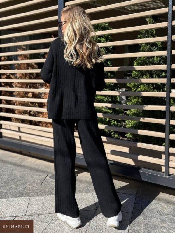 Купить выгодно черный свободный вязаный костюм для женщин