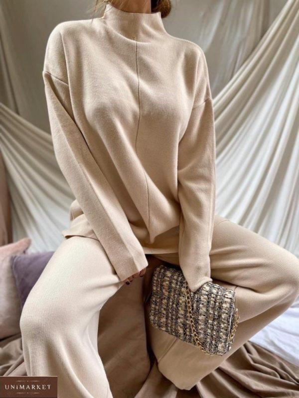 Заказать бежевый женский тёплый костюм из ангоры со свитером онлайн