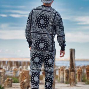 Купити чорний чоловічий прогулянковий костюм з принтом (розмір 48-54) онлайн
