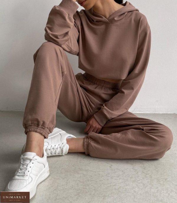 Купить выгодно мокко однотонный спортивный костюм с капюшоном для женщин