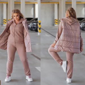 Купити недорого пудра жіночий костюм з жилеткою (розмір 44-54)