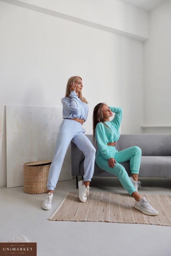 Купить женский спортивный костюм с укороченной кофтой (размер 42-48) в интернете голубой, белый