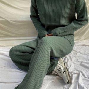 Приобрести оливковый прогулочный костюм рубчик для женщин