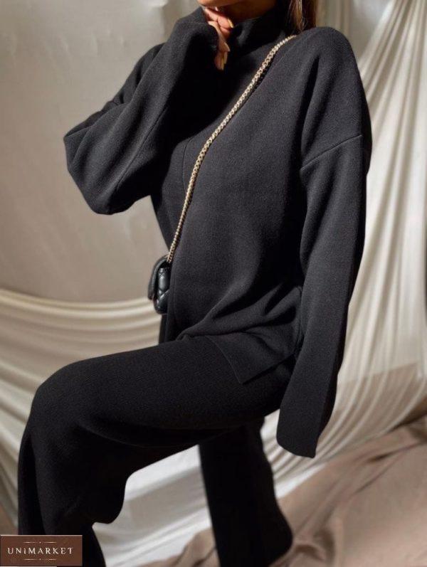 Приобрести черный женский тёплый костюм из ангоры со свитером в Украине