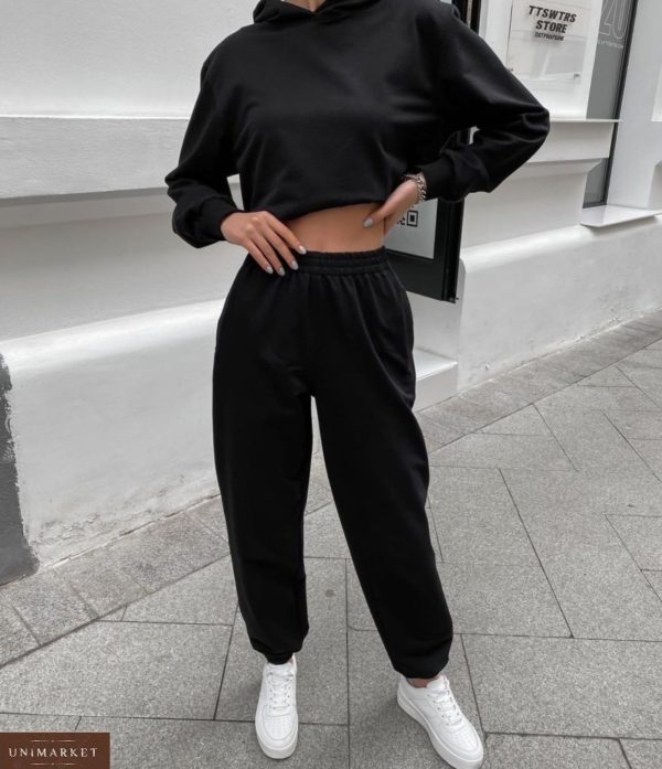Заказать черный женский однотонный спортивный костюм с капюшоном недорого