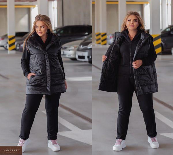 Заказать онлайн черный женский костюм с жилеткой (размер 44-54)