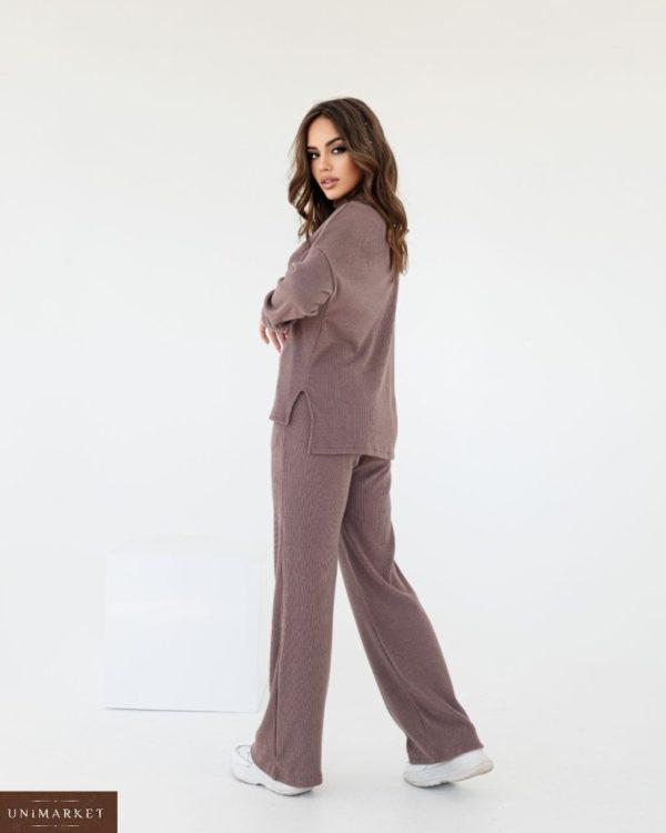 Заказать женский по скидке костюм из ангоры с брюками палаццо мокко
