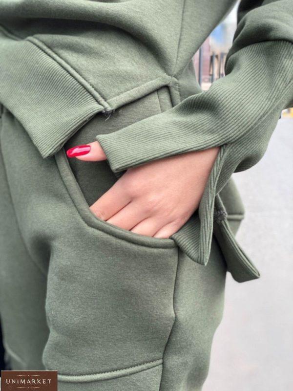 Заказать женский костюм с разрезами на флисе оливка онлайн