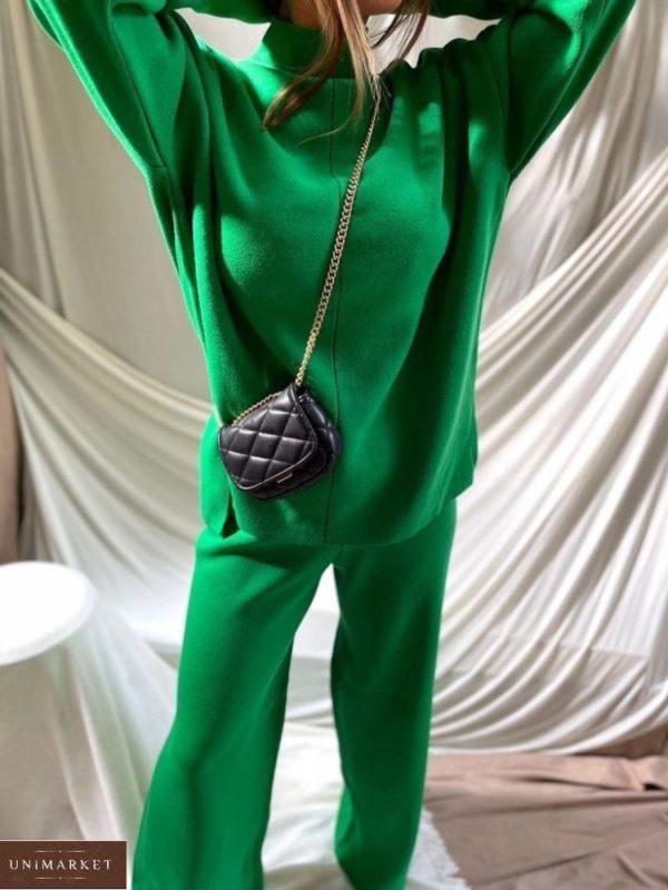 Заказать зеленый женский тёплый костюм из ангоры со свитером недорого