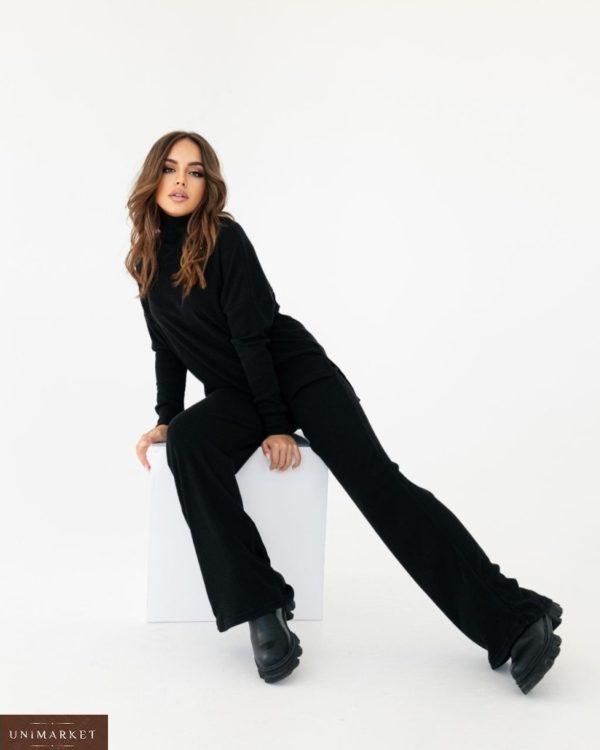 Приобрести дешево женский костюм из ангоры с брюками палаццо черный
